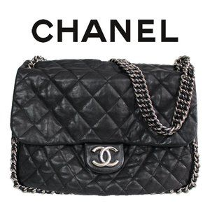 CHANEL Quilted Chain Trim Leather Shoulder Bag CC